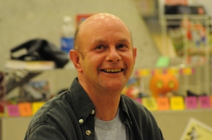 The adorable Nick Hornby signs books at the Central Library